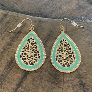 Teal & gold tear drop earrings